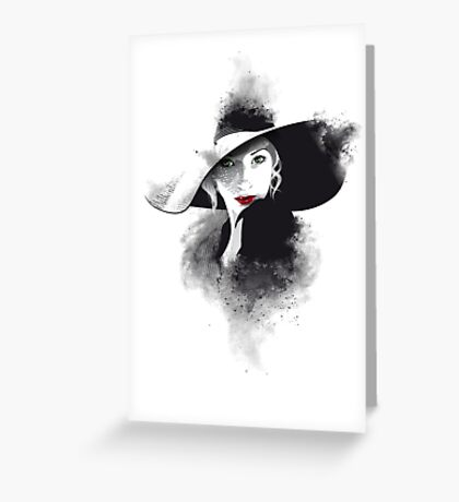 The hat, girl portrait Greeting Card