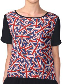 Union Jack Inspired Pattern Chiffon Top
