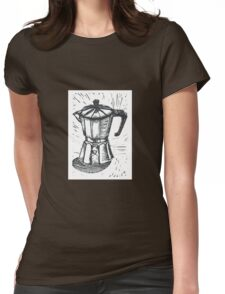 Linocut Espresso  Womens Fitted T-Shirt