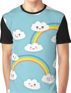 Happy rainbow and clouds Graphic T-Shirt