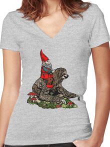 Gnome Riding a Sloth Women's Fitted V-Neck T-Shirt