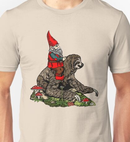 Gnome Riding a Sloth Unisex T-Shirt