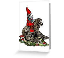 Gnome Riding a Sloth Greeting Card