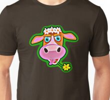Cute Cow with Bohemian Flower Crown  Unisex T-Shirt
