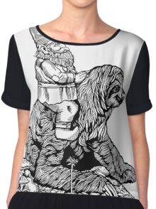 Gnome Riding a Sloth Black and White edition Chiffon Top
