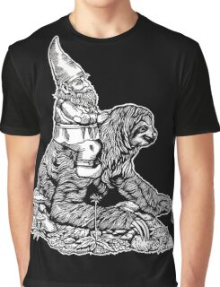Gnome Riding a Sloth Black and White edition Graphic T-Shirt