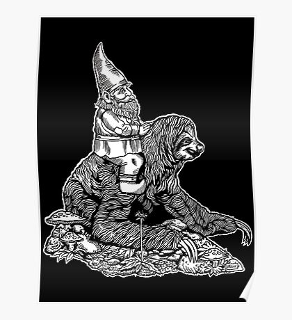 Gnome Riding a Sloth Black and White edition Poster