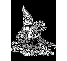 Gnome Riding a Sloth Black and White edition Photographic Print