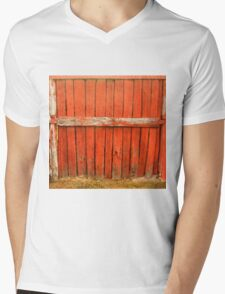 Red and Rustic Mens V-Neck T-Shirt