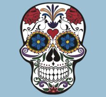 Red Roses and Heart Cranium Tattoo Art One Piece - Short Sleeve