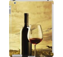 A Grape Vineyard Grapes Bottle and Glass of Red Wine iPad Case/Skin