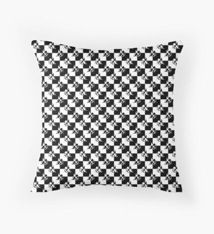 Tiny Small Black And White Cupid Love Checkmate Tiles Throw Pillow