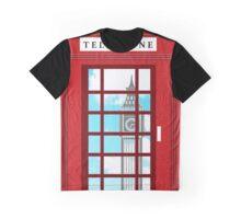 England Classic British Telephone Box Minimalist Graphic T-Shirt
