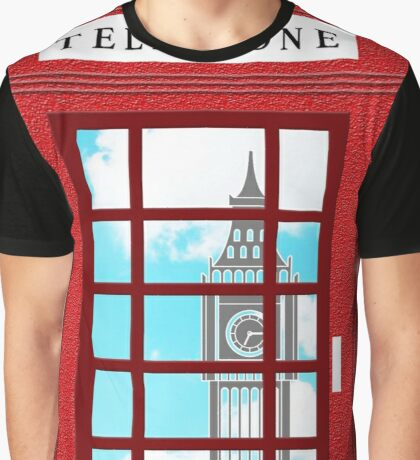 England Classic British Telephone Box Minimalist Graphic T-Shirt