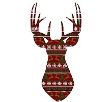 Holiday Pattern Deer Bust Photographic Print