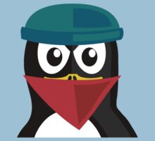 Crook Penguin Artwork for Black hat Coders and Nerds  One Piece - Short Sleeve