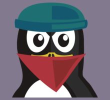 Crook Penguin Artwork for Black hat Coders and Nerds  Kids Tee