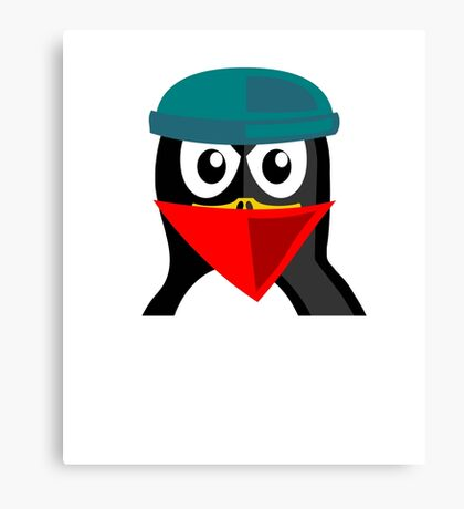 Crook Penguin Artwork for Black hat Coders and Nerds  Canvas Print