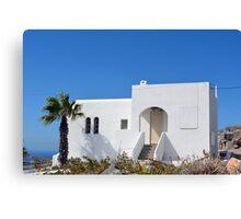 White architecture in Santorini, Greece Canvas Print