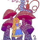 Alice and The Hookah Smoking Caterpillar by Octavio Velazquez