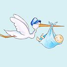 Stork delivering baby boy cute whimsical watercolor art by Sarah Trett