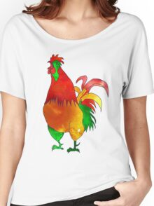 Watercolor Rooster. Red Fire Chicken on Chinese zodiac. Women's Relaxed Fit T-Shirt