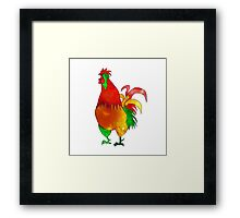 Watercolor Rooster. Red Fire Chicken on Chinese zodiac. Framed Print
