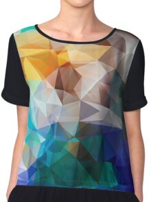 Abstract background of triangles polygon print. Bright design colors Chiffon Top