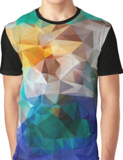 Abstract background of triangles polygon print. Bright design colors Graphic T-Shirt