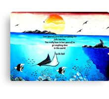 Love Yourself First Inspirational Quote With Underwater Scene Painting Canvas Print