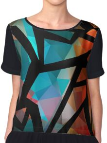Abstract background of triangles polygon print. Bright dark design colors Chiffon Top