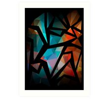 Abstract background of triangles polygon print. Bright dark design colors Art Print