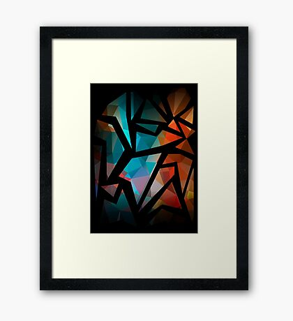 Abstract background of triangles polygon print. Bright dark design colors Framed Print
