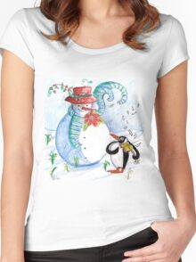 SNOWMAN AND PENGUIN'S WINTER SERENADE Women's Fitted Scoop T-Shirt