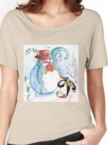 SNOWMAN AND PENGUIN'S WINTER SERENADE Women's Relaxed Fit T-Shirt