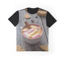 Homemade  cookies and hot chocolate on dark old wooden table. Freshly baked coconut cookies on rustic background. Graphic T-Shirt