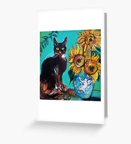 SUNFLOWERS WITH BLACK CAT IN BLUE TURQUOISE  Greeting Card