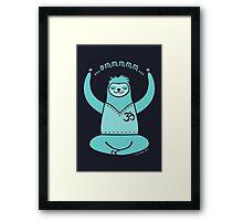 Om Yoga Sloth - blue Framed Print