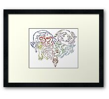 Tribal Eeveeloutions heart Framed Print
