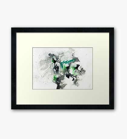 Black and green abstract Framed Print