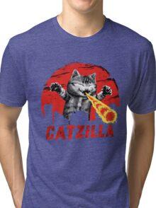 Catzilla Funny Godzilla Cat Tri-blend T-Shirt