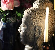 Peaceful Morning; Buddha with Roses by LisaGHunter