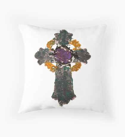 Green Cross by artist Thomas Andrew Throw Pillow