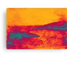 Watercolor of sunset at the sea Canvas Print