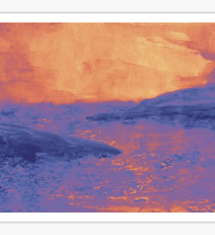 Watercolor of sunset at the sea Sticker