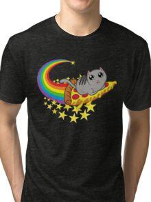Rainbow Pizza Riding Cat Tri-blend T-Shirt