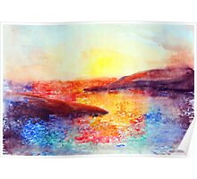 Watercolor of sunset at the sea Poster