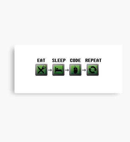 Eat, sleep, code, repeat Canvas Print