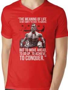 Arnold Schwarzenegger Arnie Conquer Quote Mens V-Neck T-Shirt