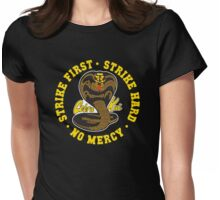 Cobra kai - Strike First Strike Hard No Mercy HD (Gold Variant) Womens Fitted T-Shirt